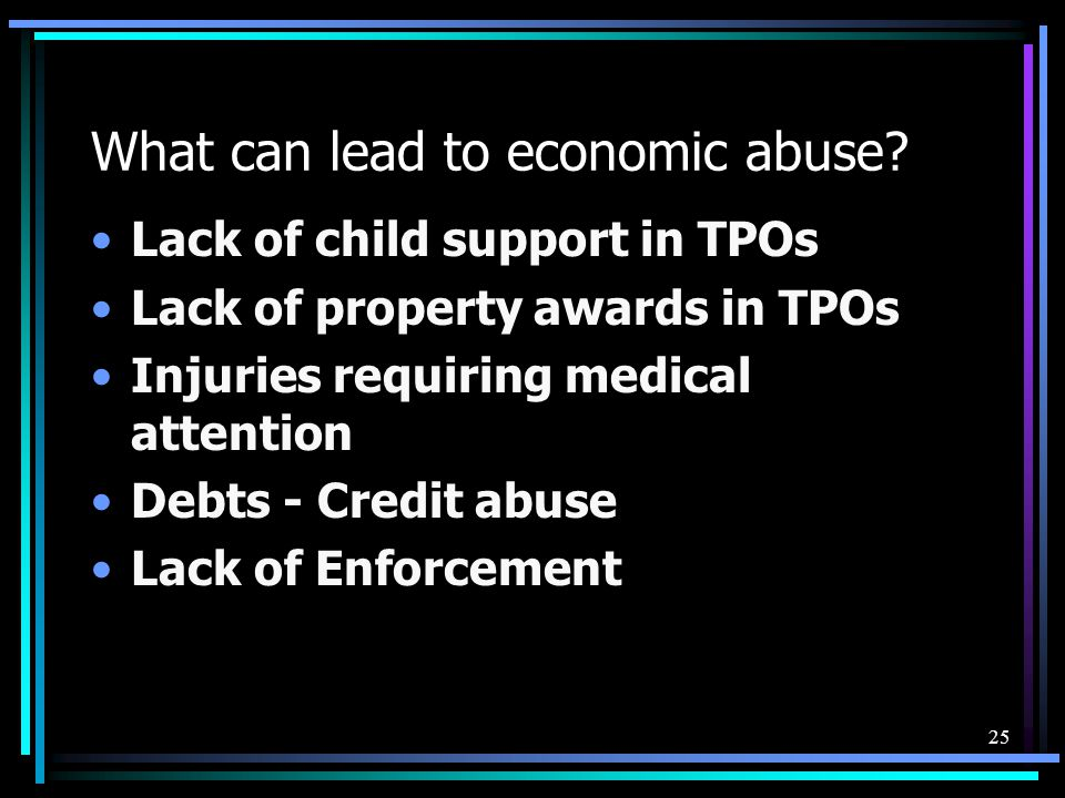 What can lead to economic abuse