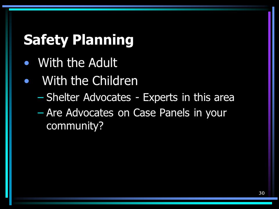 Safety Planning With the Adult With the Children