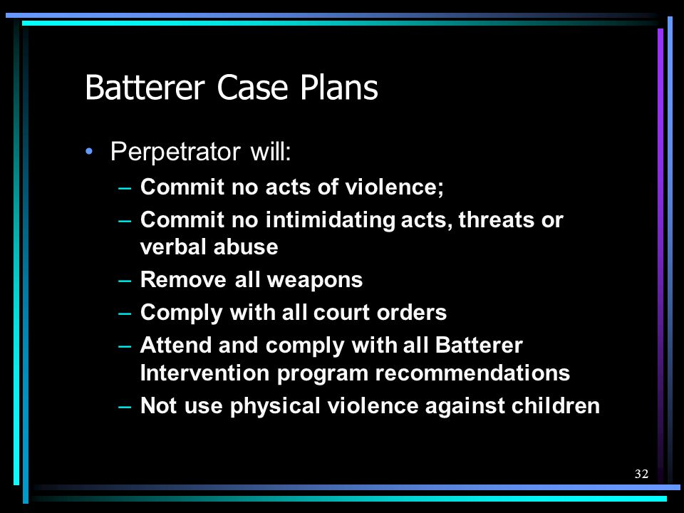 Batterer Case Plans Perpetrator will: Commit no acts of violence;