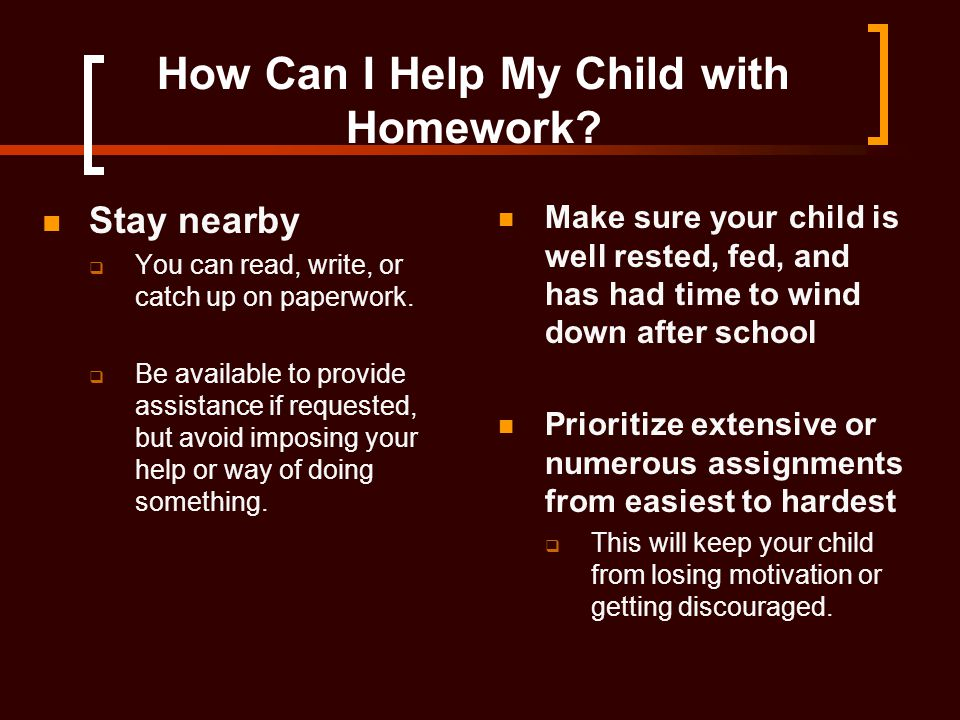 How Can I Help My Child with Homework