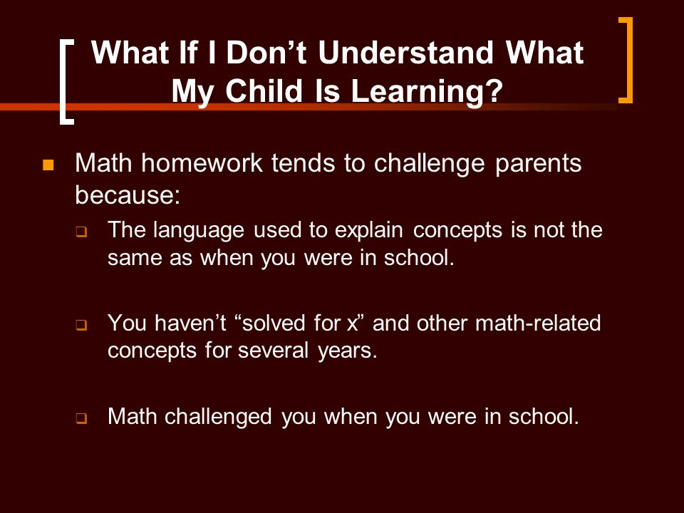 What If I Don't Understand What My Child Is Learning