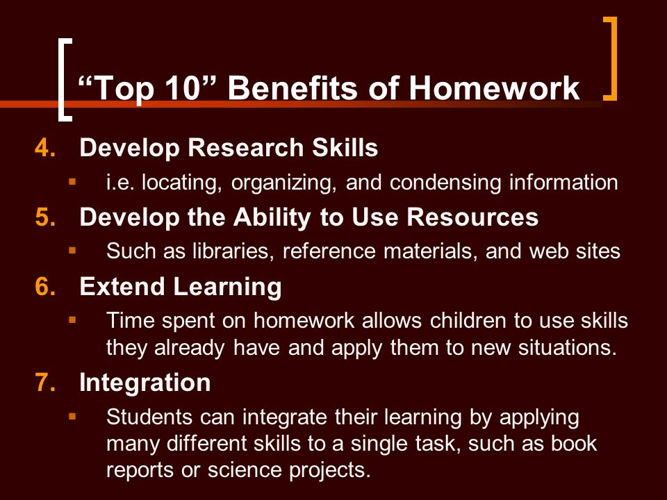 Top 10 Benefits of Homework