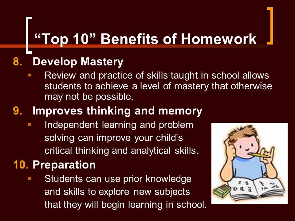 Top 10 Benefits of Homework