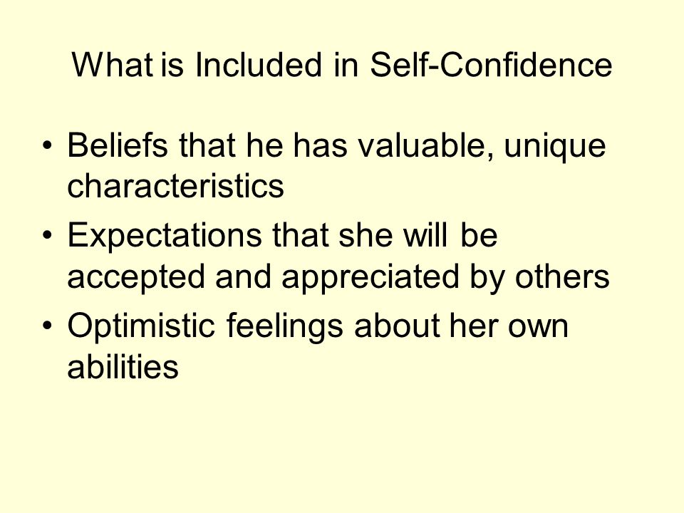 What is Included in Self-Confidence