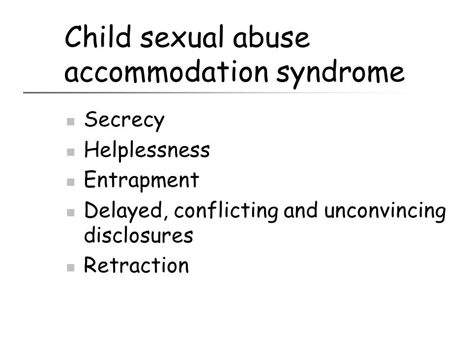 Child sexual abuse accommodation syndrome
