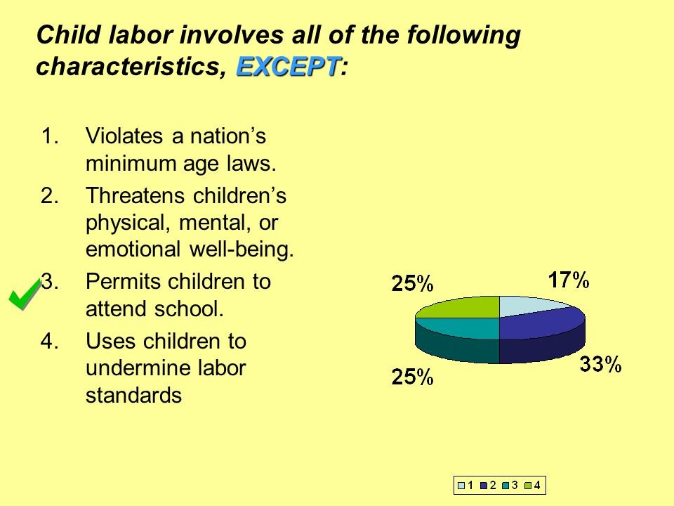 Child labor involves all of the following characteristics, EXCEPT: