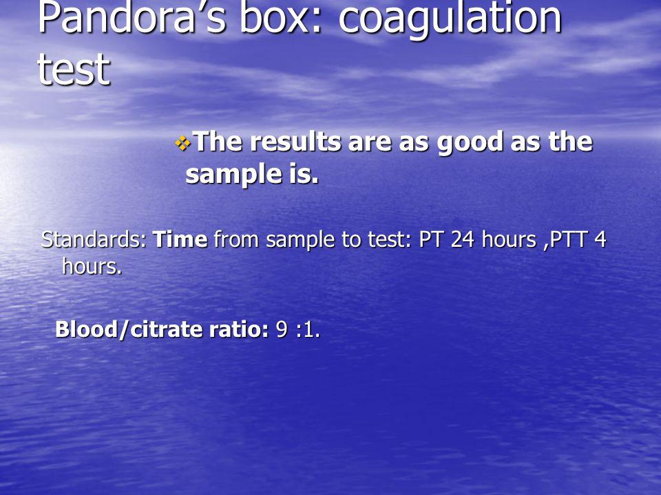 Pandora's box: coagulation test