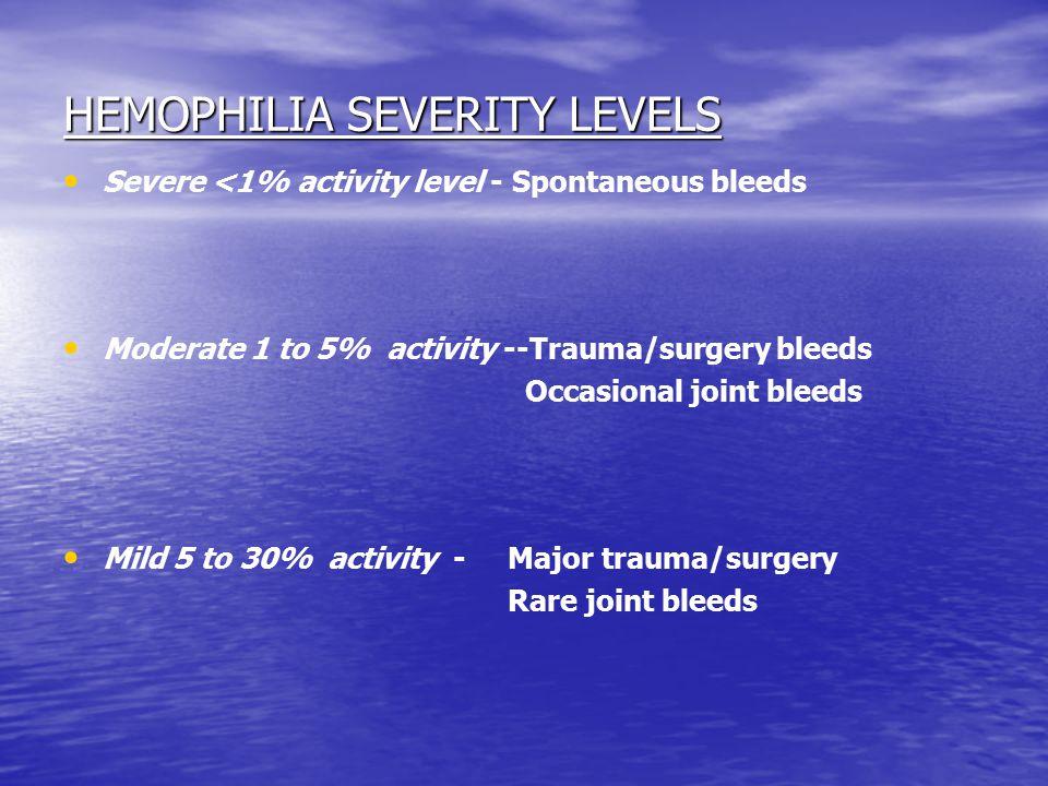 HEMOPHILIA SEVERITY LEVELS