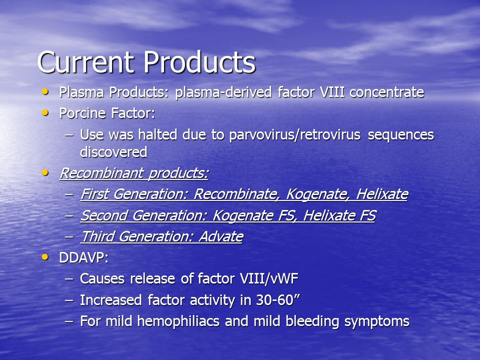 Current Products Plasma Products: plasma-derived factor VIII concentrate. Porcine Factor: