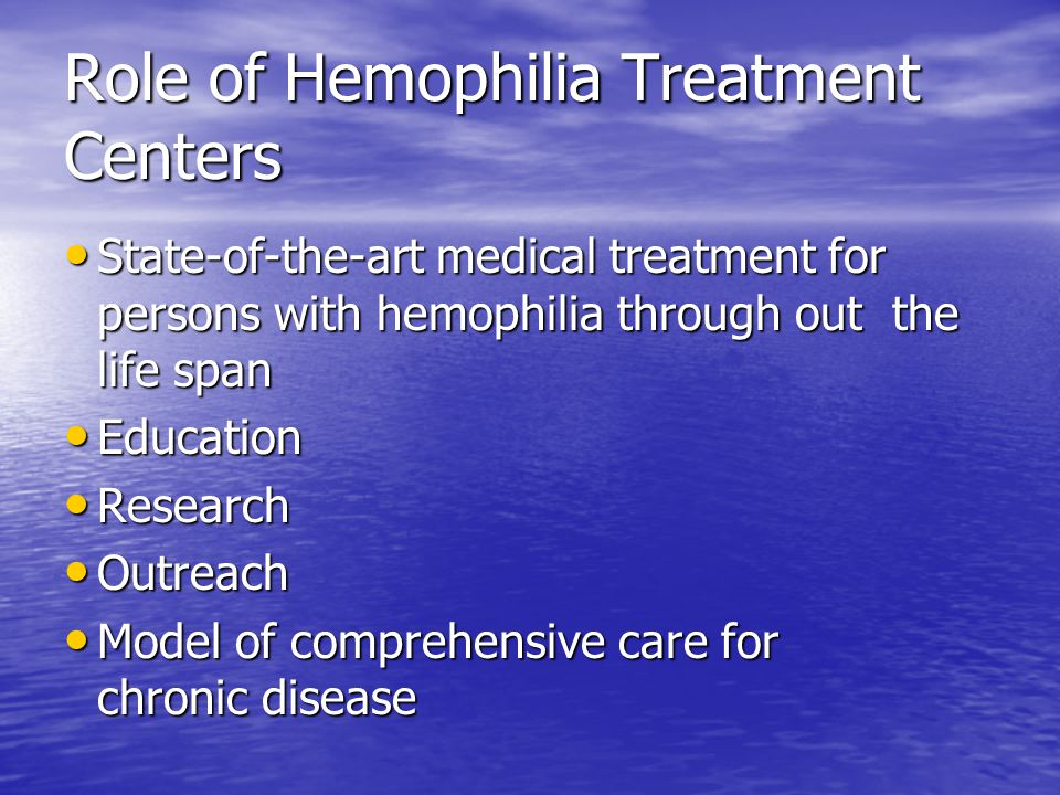 Role of Hemophilia Treatment Centers