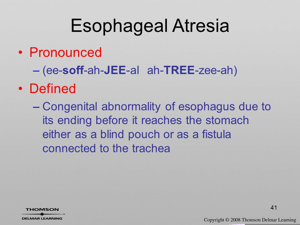 Esophageal Atresia Pronounced Defined