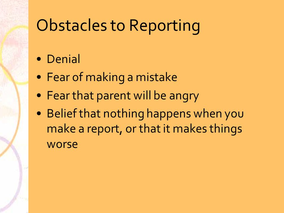 Obstacles to Reporting