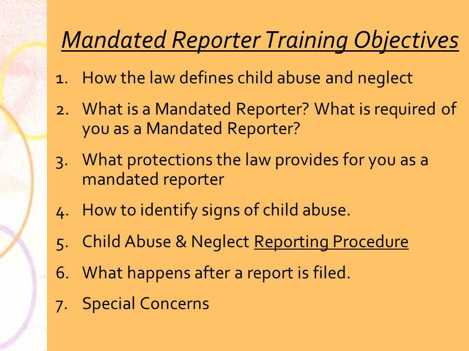 Mandated Reporter Training Objectives