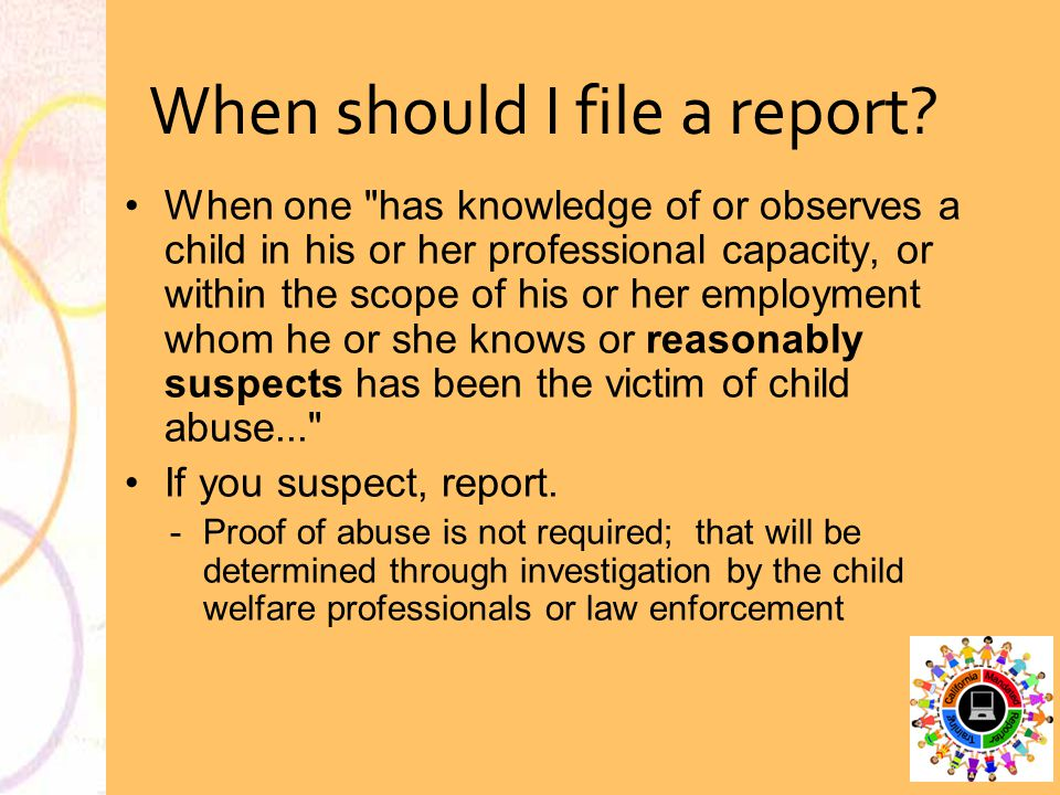 When should I file a report