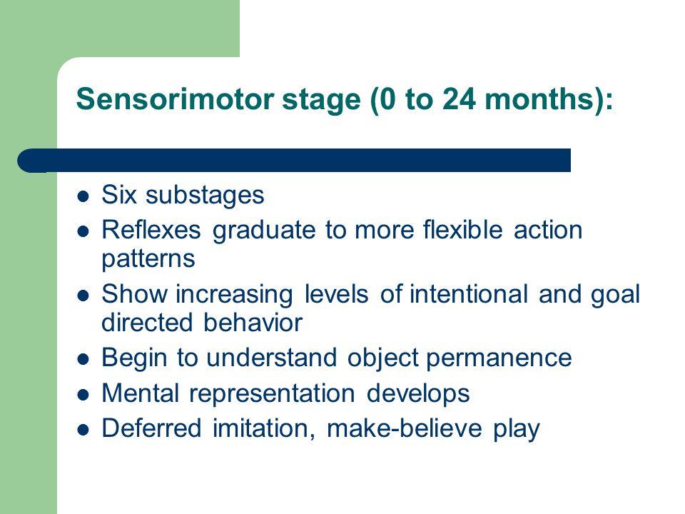 Sensorimotor stage (0 to 24 months):