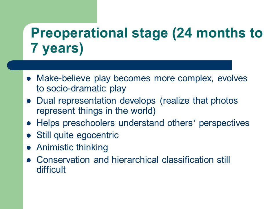 Preoperational stage (24 months to 7 years)