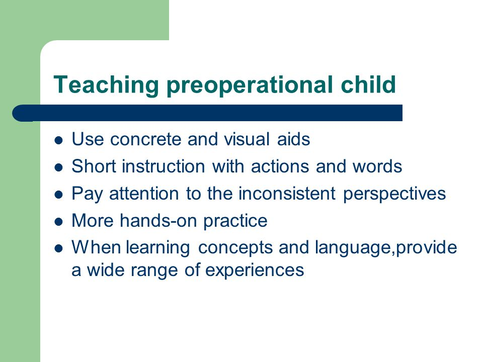 Teaching preoperational child