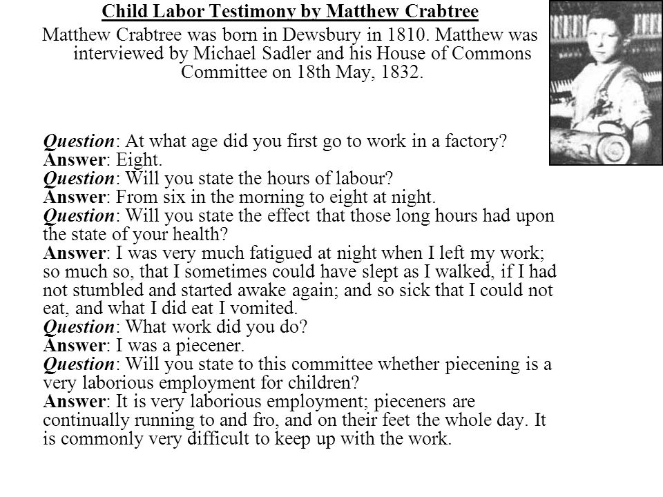 Child Labor Testimony by Matthew Crabtree