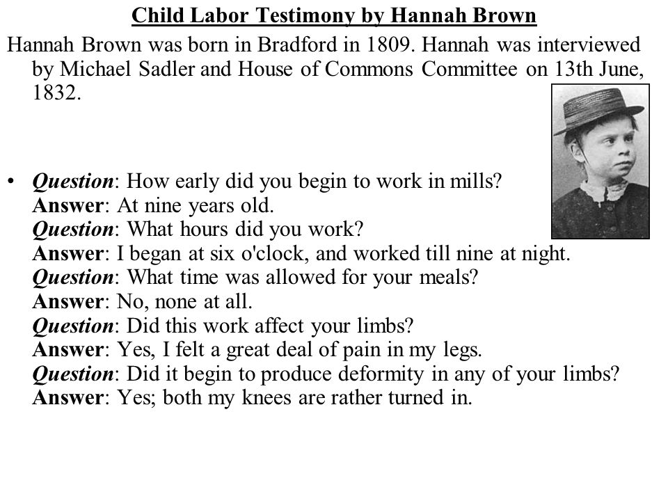 Child Labor Testimony by Hannah Brown