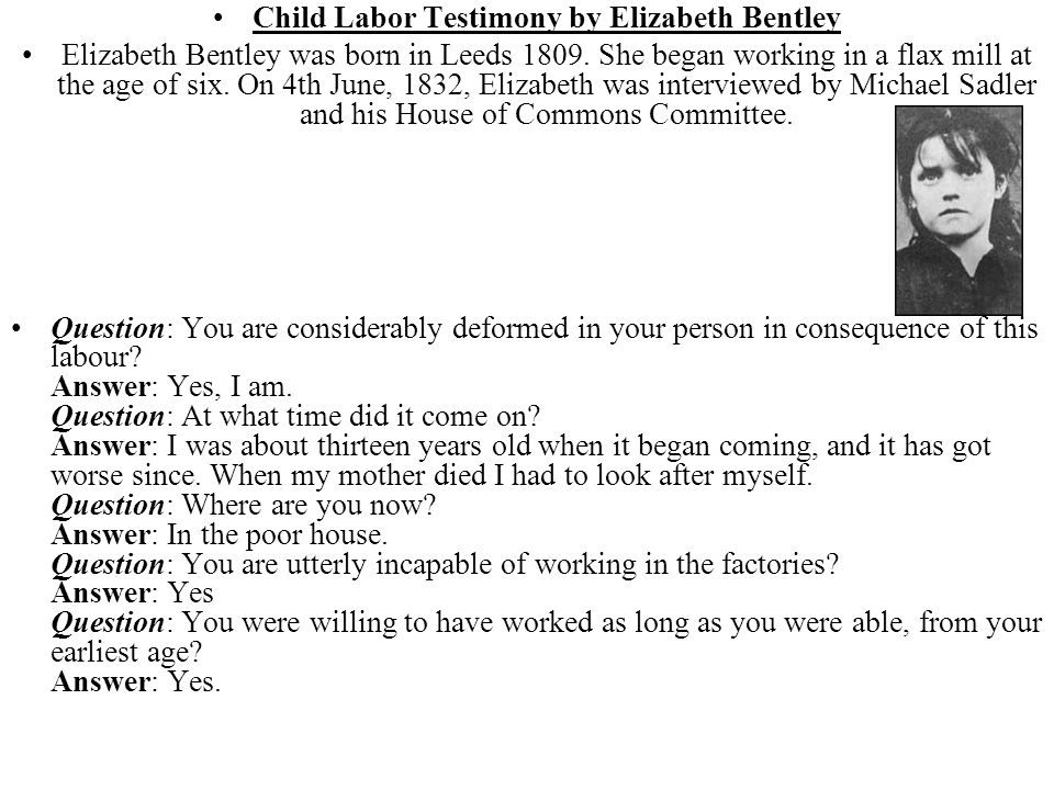 Child Labor Testimony by Elizabeth Bentley
