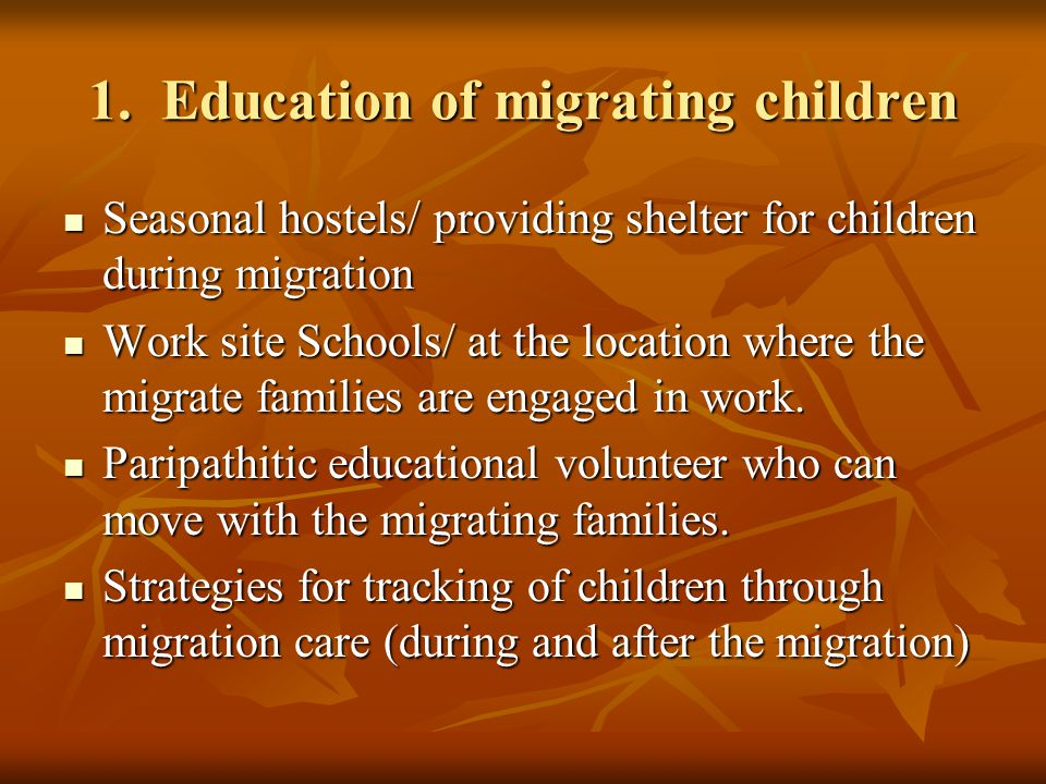 1. Education of migrating children