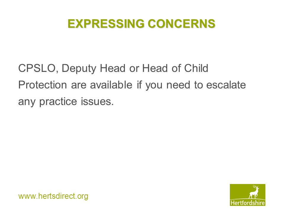 EXPRESSING CONCERNS CPSLO, Deputy Head or Head of Child