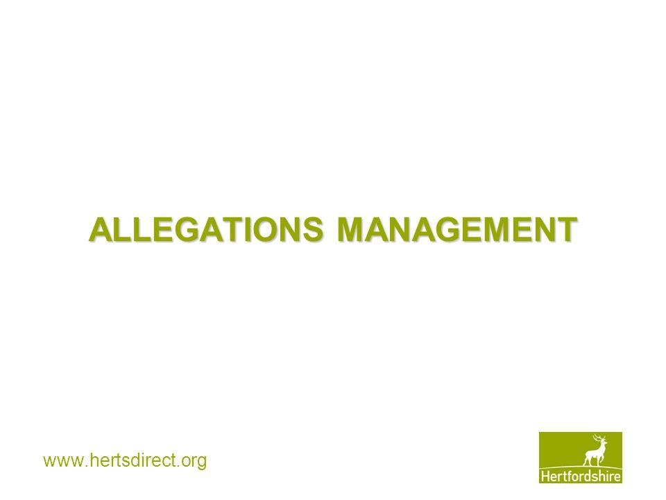 ALLEGATIONS MANAGEMENT