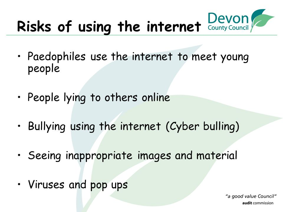 Risks of using the internet
