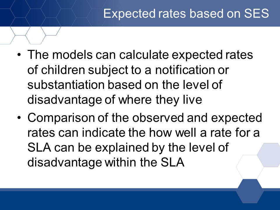 Expected rates based on SES