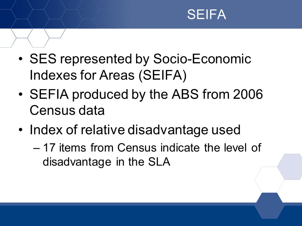 SES represented by Socio-Economic Indexes for Areas (SEIFA)