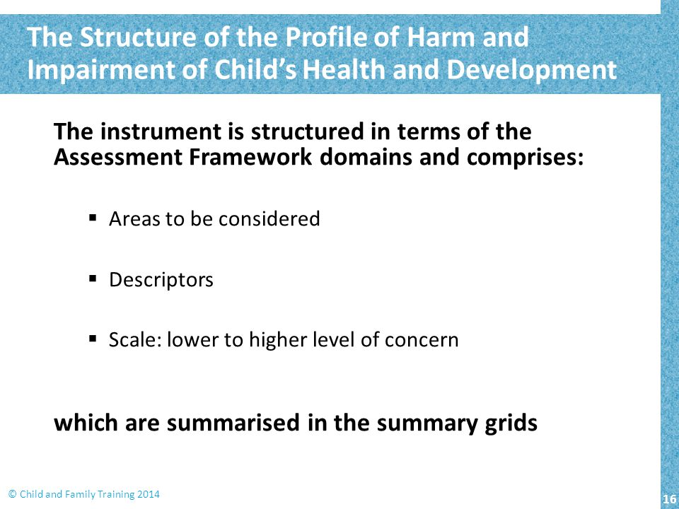 The Structure of the Profile of Harm and Impairment of Child's Health and Development