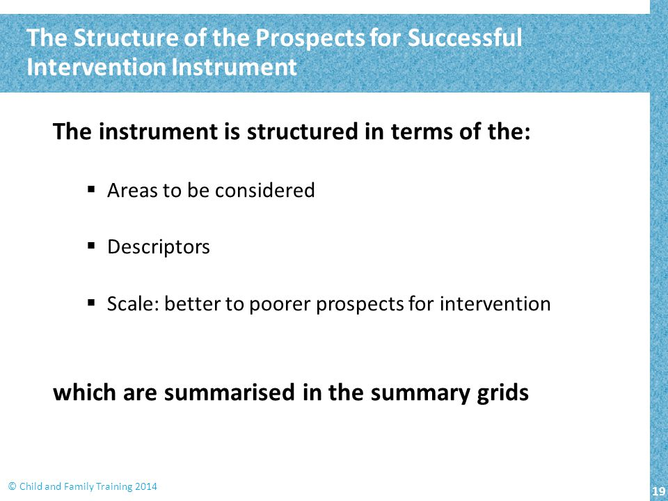 The Structure of the Prospects for Successful Intervention Instrument