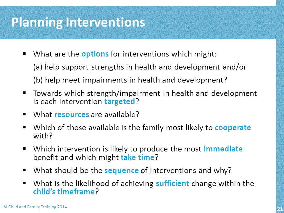 Planning Interventions
