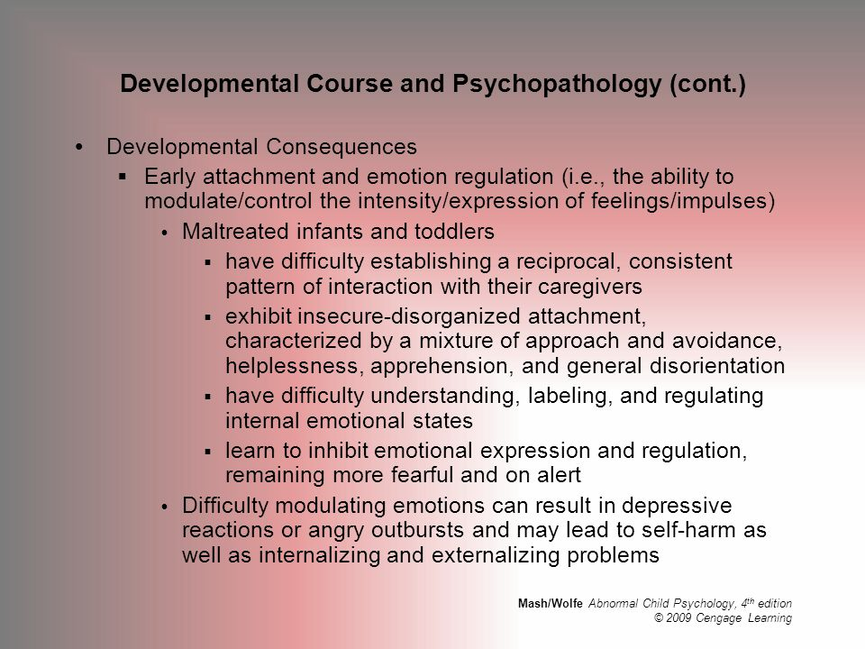 Developmental Course and Psychopathology (cont.)