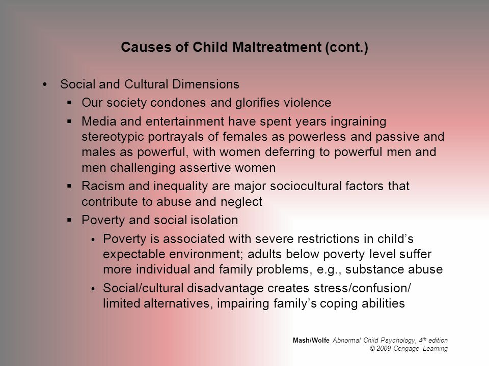 Causes of Child Maltreatment (cont.)