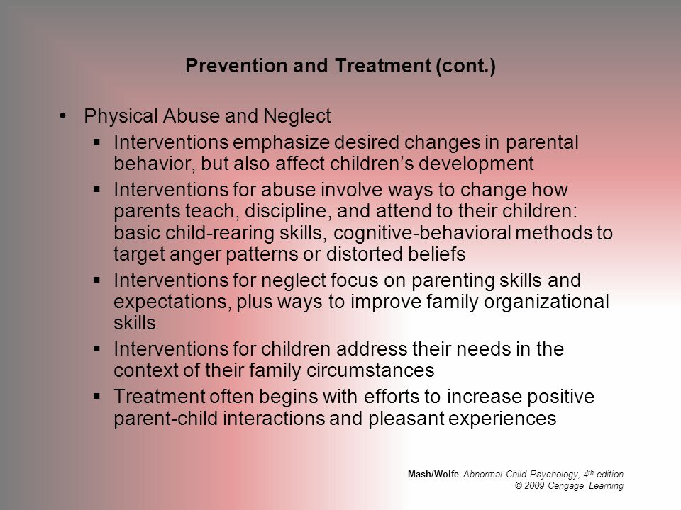 Prevention and Treatment (cont.)