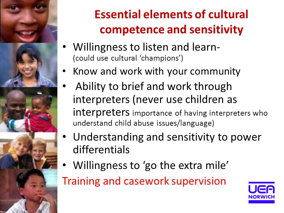 Essential elements of cultural competence and sensitivity
