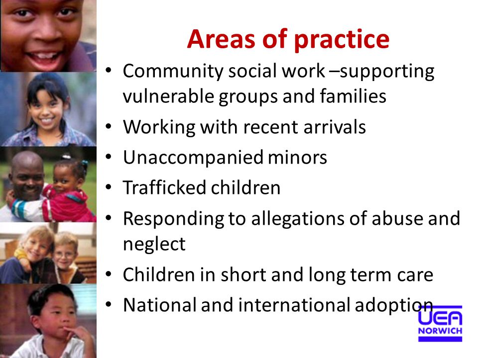Areas of practice Community social work –supporting vulnerable groups and families. Working with recent arrivals.