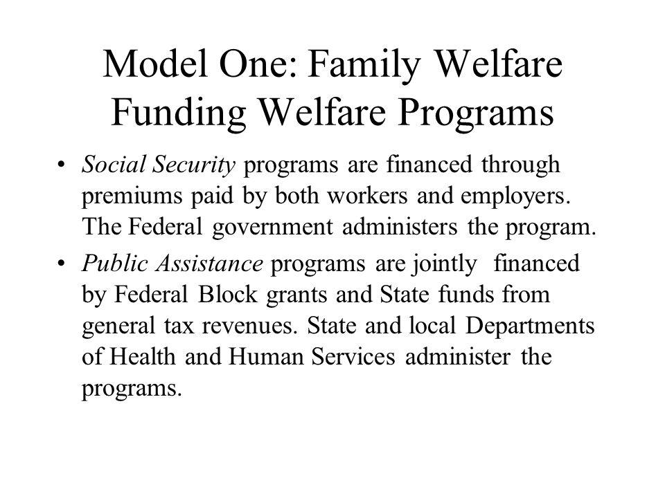 Model One: Family Welfare Funding Welfare Programs