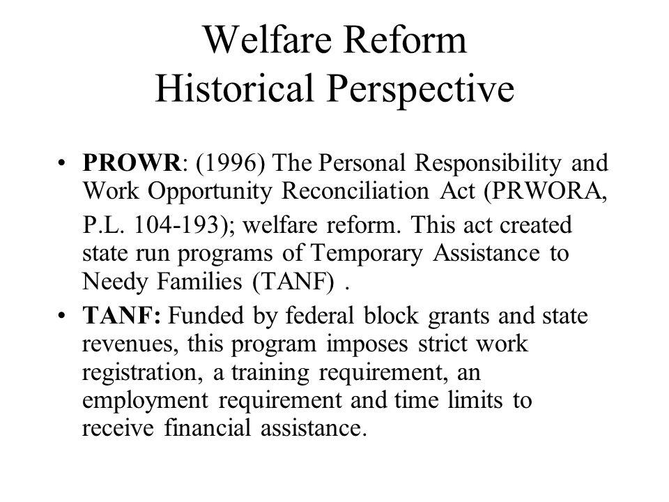 Welfare Reform Historical Perspective