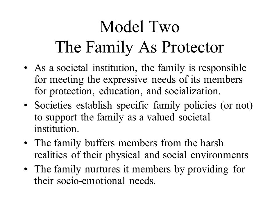 Model Two The Family As Protector