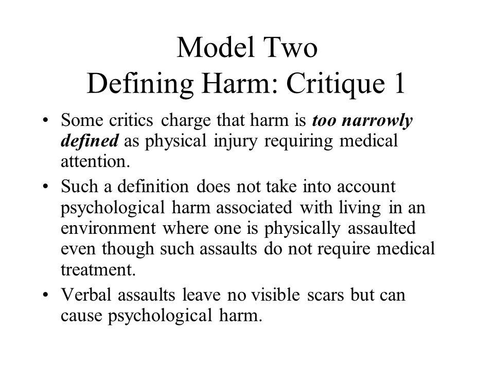 Model Two Defining Harm: Critique 1