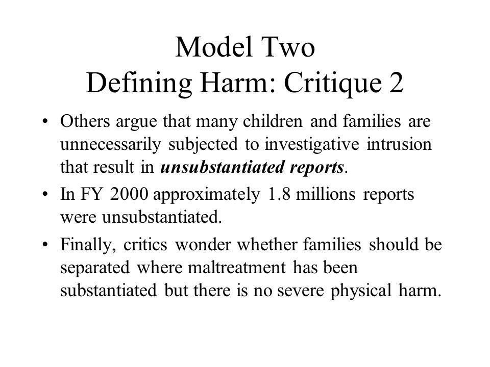 Model Two Defining Harm: Critique 2