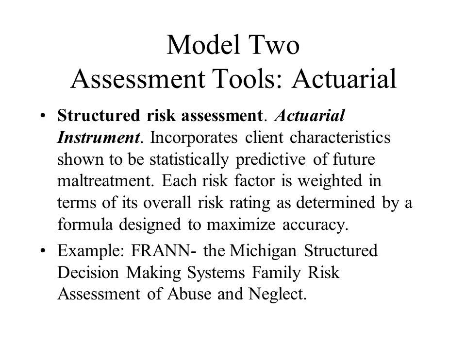 Model Two Assessment Tools: Actuarial