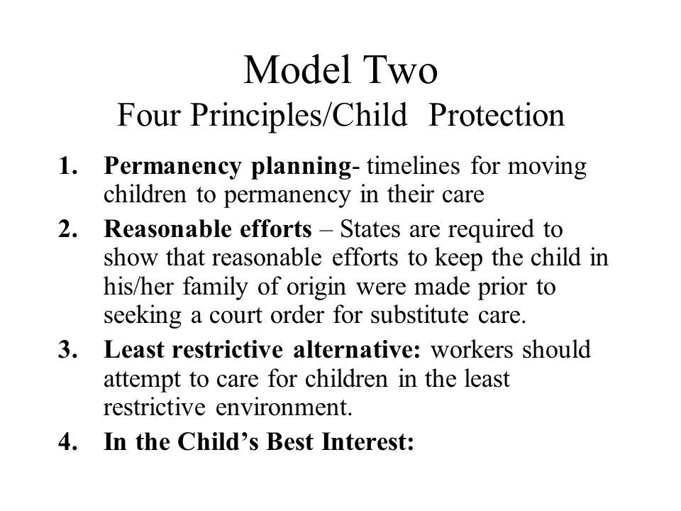 Model Two Four Principles/Child Protection