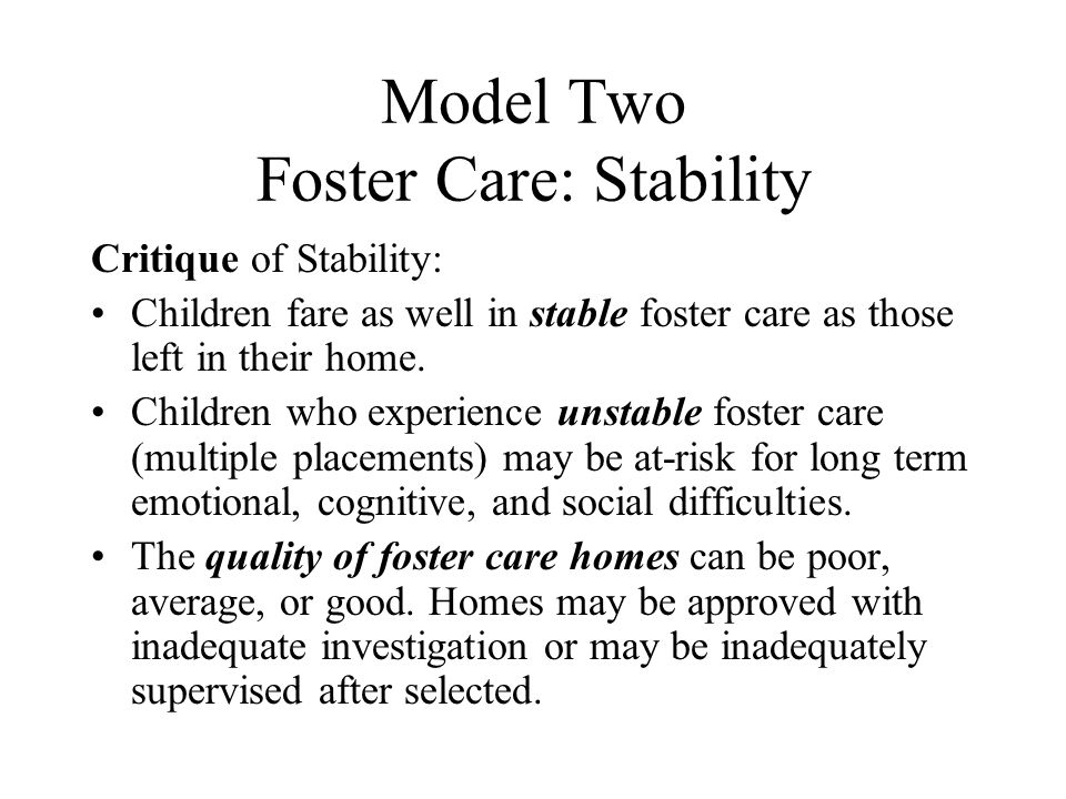 Model Two Foster Care: Stability