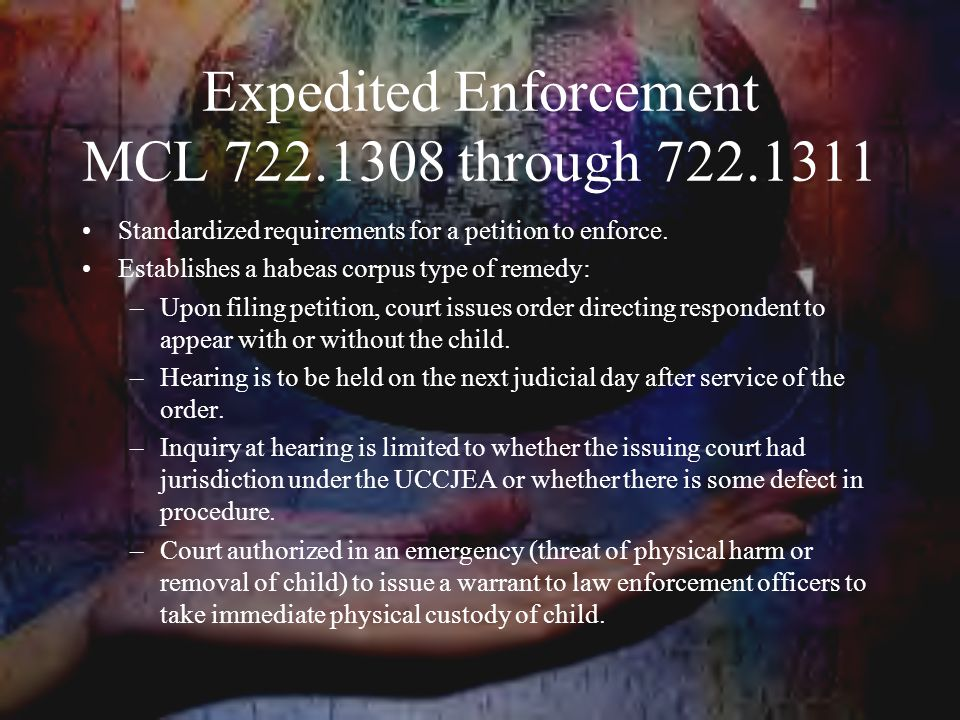 Expedited Enforcement MCL 722.1308 through 722.1311