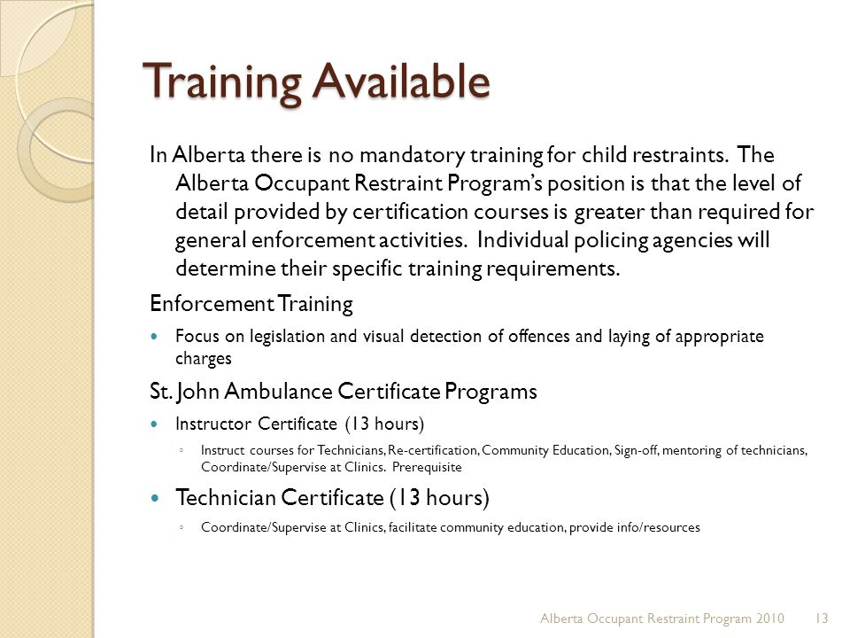 Training Available