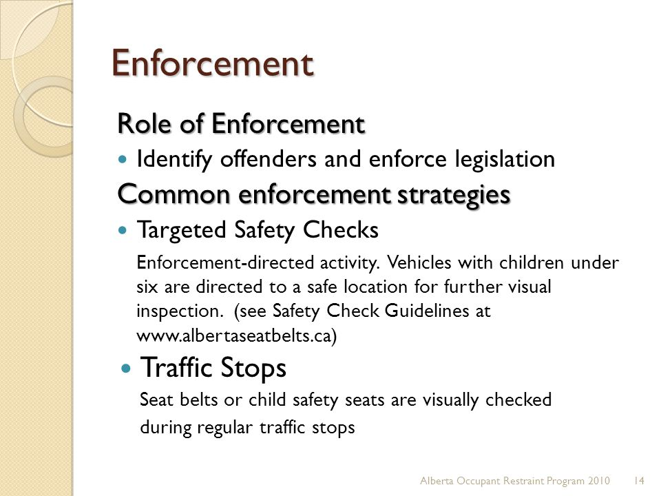 Enforcement Role of Enforcement Common enforcement strategies