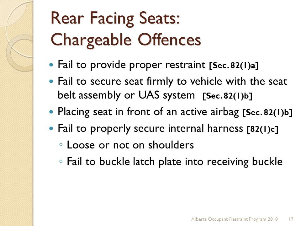 Rear Facing Seats: Chargeable Offences
